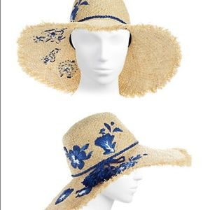 58640bf6f5d49 kate spade Accessories - Kate Spade Embroidered Hibiscus Hat NWT
